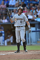 Charleston RiverDogs left fielder Michael O'Neill #10 reacts to striking out during a game against the Asheville Tourists at McCormick Field July 26, 2014 in Asheville, North Carolina. The RiverDogs defeated the Tourists 8-7. (Tony Farlow/Four Seam Images)