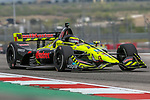 Dale Coyne Racing with Vasser-Sullivan driver Sebastien Bourdais (18) of France in action during the practice round at the Circuit of the Americas racetrack in Austin,Texas.