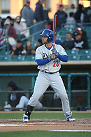 Garrett Kennedy (23) of the Rancho Cucamonga Quakes bats against the Lancaster JetHawks at The Hanger on April 20, 2017 in Lancaster, California. Lancaster defeated Rancho Cucamonga 4-0. (Larry Goren/Four Seam Images)