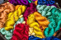 Bangkok, Thailand.  Colored Silk, with Cocoons.