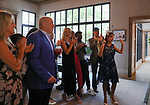 June 20, 2020: Patti Reeves, left, cheers with guests while love streaming with NBC before the 2020 Belmont Stakes. The Reeves's own Sole Volante. Gabriella Audi/Eclipse Sportswire/CSM