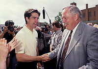 Andre Boisclair, Leader of the Parti quÈbÈcois since November 15, 2005, and Leader of the Official Opposition since August 21, 2006 seen shaking hand with (then) PQ leader Jacques Parizeau (L) in an August 1994  file photo<br /> <br /> <br /> Photo : (c)  Pierre Roussel - images Distribution