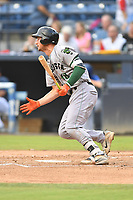 Augusta GreenJackets third baseman Jacob Gonzalez (18) swings at a pitch during a game against the Asheville Tourists at McCormick Field on August 20, 2018 in Asheville, North Carolina. The GreenJackets defeated the Tourists 2-1. (Tony Farlow/Four Seam Images)