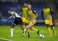 2nd January 2021; Liberty Stadium, Swansea, Glamorgan, Wales; English Football League Championship Football, Swansea City versus Watford; Andre Ayew of Swansea City tries a back heel but its covered by Ben Wilmot of Watford