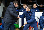 St Johnstone v Hamilton Accies…19.01.19…   McDiarmid Park    Scottish Cup 4th Round<br />Tommy Wright greets Martin Canning before kick off<br />Picture by Graeme Hart. <br />Copyright Perthshire Picture Agency<br />Tel: 01738 623350  Mobile: 07990 594431
