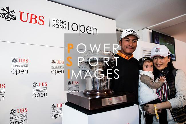 Leon D'souza of Hong Kong speaks in the UBS Pavilion during the day three of UBS Hong Kong Open 2017 at the Hong Kong Golf Club on 25 November 2017, in Hong Kong, Hong Kong. Photo by Yu Chun Christopher Wong / Power Sport Images