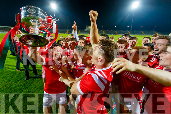 East Kerry team celebrates with the Bishop Moynihan cup after the Kerry County Senior Football Championship Final match between East Kerry and Mid Kerry at Austin Stack Park in Tralee on Saturday night.