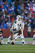 New York Jets quarterback Sam Darnold (14) under center Jonotthan Harrison (78) during an NFL football game against the Buffalo Bills, Sunday, December 9, 2018, in Orchard Park, N.Y.  (Mike Janes Photography)