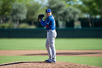 Los Angeles Dodgers relief pitcher Jose Rodulfo (56) gets ready to deliver a pitch during an Instructional League game against the San Diego Padres at Camelback Ranch on September 25, 2018 in Glendale, Arizona. (Zachary Lucy/Four Seam Images)