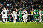 Chicharrito and Jesé and Illarra of Real Madrid during Champions League match between Real Madrid and Ludogorets at Santiago Bernabeu Stadium in Madrid, Spain. December 09, 2014. (ALTERPHOTOS/Luis Fernandez)