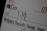 The check presented to the Y-Me Beast Cancer Organization by VONS and District 2 Councilman Kevin Faulconer at the Liberty Station Vons, San Diego, CA, Wednesday March 26, 2008.