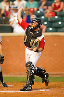 Chattanooga catcher Craig Tatum (38) fires the ball to third base following a strike out versus Mississippi at AT&T Field in Chattanooga, TN, Wednesday, July 26, 2007.