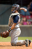 Tennessee catcher Miguel Montero tosses the ball back to the pitcher in game action versus Carolina at Five County Stadium in Zebulon, NC, Sunday, July 2, 2006.  The Mudcats defeated the Smokies 4-0.