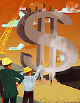 Businessman and an architect constructing dollar sign money building