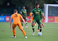 LAKE BUENA VISTA, FL - JULY 18: Jeremy Ebobisse #17 of the Portland Timbers looks for options with the ball during a game between Houston Dynamo and Portland Timbers at ESPN Wide World of Sports on July 18, 2020 in Lake Buena Vista, Florida.