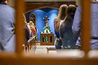 "November 7, 2019; Rector Rev. Paul Doyle, C.S.C. celebrates the Thursday night Dillon ""Milkshake Mass"" in the Baumer Hall chapel. (Photo by Matt Cashore/University of Notre Dame)"