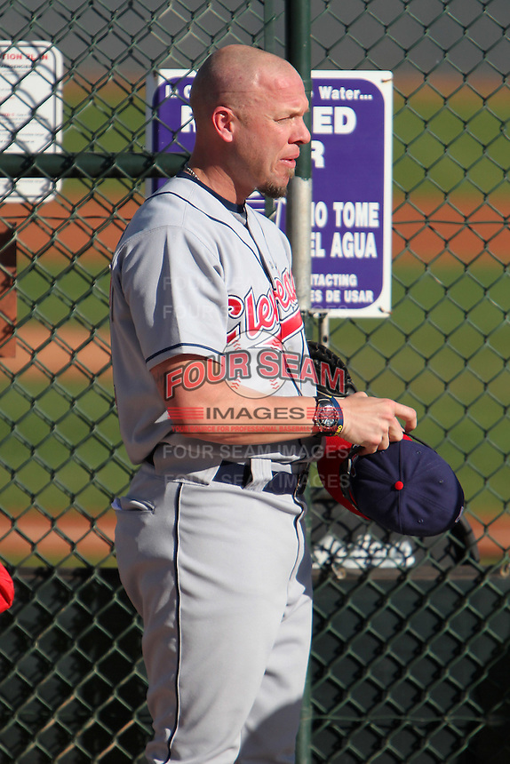 Former major league pitcher Brian Anderson coaches during the Cleveland Indians Fantasy camp at the Goodyear Training Complex in Goodyear, Arizona;  January 18, 2011.  Photo By Mike Janes/Four Seam Images