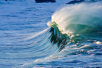 Beautiful wave at the shore break of Waimea Bay on the North Shore of Oahu, Hawaii.