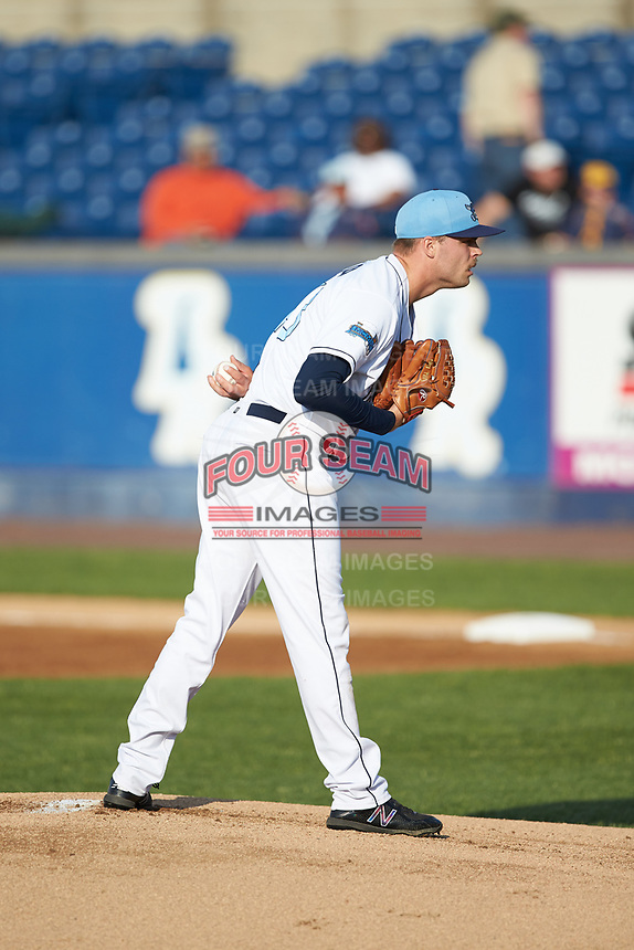 Wilmington Blue Rocks starting pitcher Daniel Tillo (43) looks to his catcher for the sign against the Fayetteville Woodpeckers at Frawley Stadium on June 6, 2019 in Wilmington, Delaware. The Woodpeckers defeated the Blue Rocks 8-1. (Brian Westerholt/Four Seam Images)