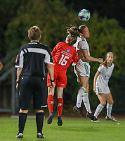 Noa Corbeels (16) of Woluwe and Lenie Onzia (8) of OHL battle for the ball during a female soccer game between FC Femina White Star Woluwe and Oud Heverlee Leuven on the fourth matchday in the 2021 - 2022 season of Belgian Scooore Womens Super League , Friday 10 th of September 2021  in Woluwe , Belgium . PHOTO SPORTPIX   SEVIL OKTEM