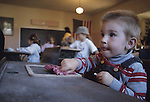 Boy at a desk in an old schoolhouse, Oxford County Fairgrounds, Fryeburg, Maine, USA