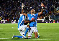 BOGOTA -COLOMBIA, 22-02-2017. Ayron Del Valle player of Millonarios celebrates his goal agaisnt Tolima.Action game beteween  Millonarios  and Tolima  during match for the date 5 of the Aguila League I 2017 played at Nemesio Camacho El Campin stadium . Photo:VizzorImage / Felipe Caicedo  / Staff