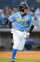 April 10, 2009: Infielder Robert Marcial (11) of the Myrtle Beach Pelicans, Class A affiliate of the Atlanta Braves, in a game against the Wilmington Blue Rocks at BB&T Coastal Field in Myrtle Beach, S.C. Photo by:  Tom Priddy/Four Seam Images