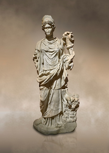 Roman statue of Hygieia. Marble. Perge. 2nd century AD. Inv no .Antalya Archaeology Museum; Turkey. Against a warm art background.<br /> <br />  Hygieia was one of the Aeclepiadae; the sons and daughters of the god of medicine; Asclepius; and the goddess of healing; Epione. She was the goddess of health; cleanliness and hygiene.