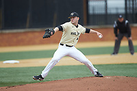 Wake Forest Demon Deacons starting pitcher Jared Shuster (41) in action against the Notre Dame Fighting Irish at David F. Couch Ballpark on March 10, 2019 in  Winston-Salem, North Carolina. The Demon Deacons defeated the Fighting Irish 7-4 in game one of a double-header.  (Brian Westerholt/Four Seam Images)