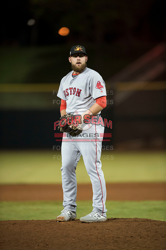 Mesa Solar Sox relief pitcher Mike Shawaryn (55), of the Boston Red Sox organization, gets ready to deliver a pitch during an Arizona Fall League game against the Scottsdale Scorpions on October 9, 2018 at Scottsdale Stadium in Scottsdale, Arizona. The Solar Sox defeated the Scorpions 4-3. (Zachary Lucy/Four Seam Images)