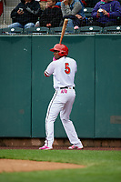 Harrisburg Senators third baseman Kelvin Gutierrez (5) on deck during the first game of a doubleheader against the New Hampshire Fisher Cats on May 13, 2018 at FNB Field in Harrisburg, Pennsylvania.  New Hampshire defeated Harrisburg 6-1.  (Mike Janes/Four Seam Images)