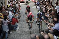 Sacha Modolo (ITA/Lampre-Merida) & Matteo Trentin (ITA/Etixx-Quickstep) battle it out side by side on the final ascent of the very steep (20%) cobbled Via Principi d'Acaja<br /> <br /> stage 18: Muggio - Pinerolo (240km)<br /> 99th Giro d'Italia 2016