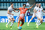 Jeju United Forward Magno Da Cruz (C) fights for the ball with Adelaide United Defender Michael Marrone (L) during the AFC Champions League 2017 Group Stage - Group H match between Jeju United FC (KOR) vs Adelaide United (AUS) at the Jeju World Cup Stadium on 11 April 2017 in Jeju, South Korea. Photo by Marcio Rodrigo Machado / Power Sport Images