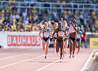 4th July 2021; Stockholm Olympic Stadium, Stockholm, Sweden; Diamond League Grand Prix Athletics, Bauhaus Gala; Almanza and Goule sprint finish in the women's 800m final