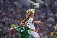 PASADENA, CALIFORNIA - August 03: Samantha Mewis #3, Claire O'Riordan #15 during their international friendly and the USWNT Victory Tour match between Ireland and the United States at the Rose Bowl on August 03, 2019 in Pasadena, CA.