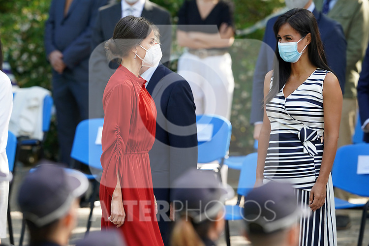 Queen Letizia of Spain (l) with Begona Villacis Sanchez spokesperson for the Municipal Citizens Group in the Madrid city hall during the act on the occasion of the festival of 'San Juan Bautista', Patron of the Municipal Police of Madrid. June 24, 2021 (ALTERPHOTOS/Acero)