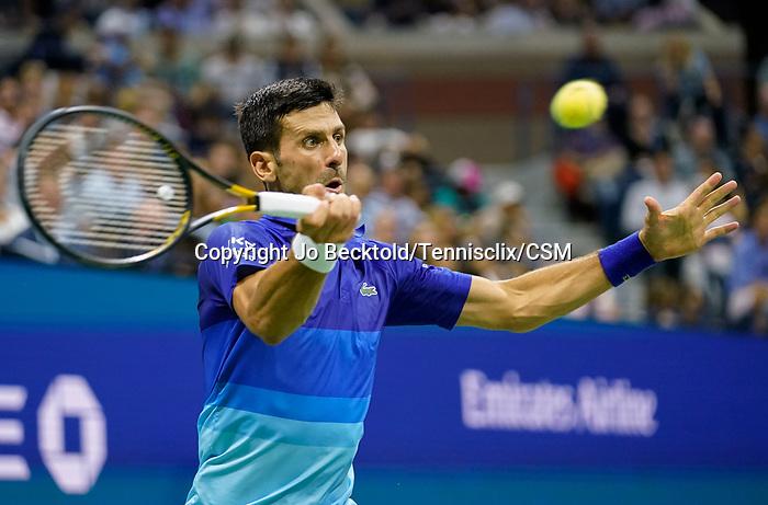 September  8, 2021:  Novak Djokovic (SRB) defeated Matteo Berrettini (ITA) 5-7, 6-2, 6-3, at the US Open being played at Billy Jean King National Tennis Center in Flushing, Queens, New York / USA  ©Jo Becktold/Tennisclix/CSM/CSM