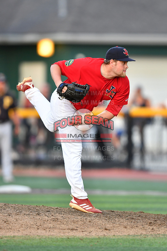 Johnson City Cardinals pitcher Walker Robbins (50) delivers a pitch during game three of the Appalachian League, West Division Playoffs against the Bristol Pirates at TVA Credit Union Ballpark on September 1, 2019 in Johnson City, Tennessee. The Cardinals defeated the Pirates 7-5 to win the series 2-1. (Tony Farlow/Four Seam Images)