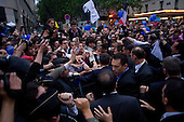 Paris, France.May 6, 2007..Newly elected President of France conservative Nikolas Sarkozy shakes the hands of supporters outside the party rally at Salle Gaveau. Sarkozy claimed 53% of the vote.....