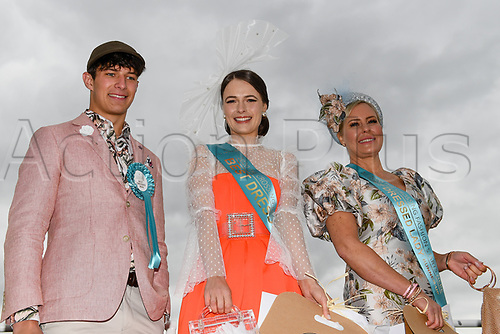10th November 2020; Christchurch, New Zealand;  Bets Dressed man Dylan Booysens, Best Dressed women Laura Campbell and runner up to best dressed women Anna Campbell during the NZ Trotting Cup at Addington Raceway, Christchurch, New Zealand