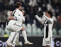 Calcio, Serie A: Juventus - Chievo Verona, Turin, Allianz Stadium, January 21, 2019.<br /> Juventus' Daniele Rugani (l) celebrates after scoring with his teammates Giorgio Chiellini (c) and Paulo Dybala (r) during the Italian Serie A football match between Juventus and Chievo Verona at Torino's Allianz stadium, January 21, 2019.<br /> UPDATE IMAGES PRESS/Isabella Bonotto