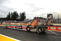 Aug. 5, 2011; Kent, WA, USA; NHRA top fuel dragster driver Doug Kalitta during qualifying for the Northwest Nationals at Pacific Raceways. Mandatory Credit: Mark J. Rebilas-