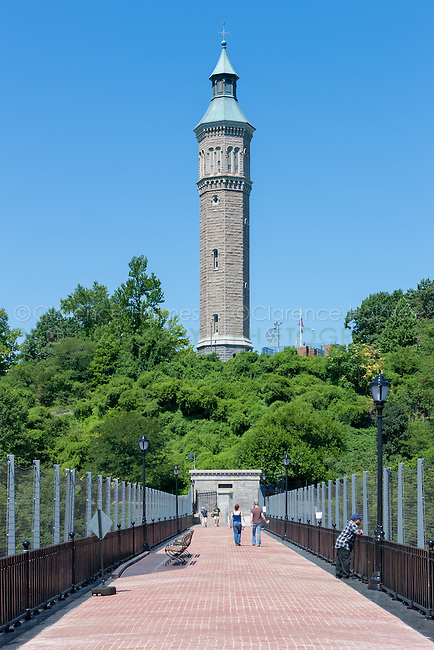 View of the walkway on the High Bridge leading to the Water Tower in Highbridge Park in Manhattan in New York City.