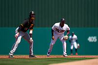 Minnesota Twins second baseman Jorge Polanco (11) holds Colin Moran (19) on during a Major League Spring Training game against the Pittsburgh Pirates on March 16, 2021 at Hammond Stadium in Fort Myers, Florida.  (Mike Janes/Four Seam Images)