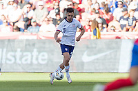 SANDY, UT - JUNE 10: Antonee Robinson #5 of the United States moves with the ball during a game between Costa Rica and USMNT at Rio Tinto Stadium on June 10, 2021 in Sandy, Utah.