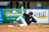Detroit Tigers first baseman Dominic Ficociello (72) slides into second base during an exhibition game against the Florida Southern Moccasins on February 29, 2016 at Joker Marchant Stadium in Lakeland, Florida.  Detroit defeated Florida Southern 7-2.  (Mike Janes/Four Seam Images)