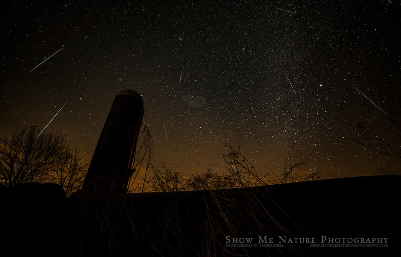 Geminid Meteors (composite) over Cass County, MO farm
