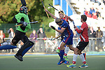GER - Mannheim, Germany, October 09: During the men hockey match between Mannheimer HC (blue) and TSV Mannheim (red) on October 9, 2016 at Mannheimer HC in Mannheim, Germany. Final score 4-3 (HT 1-1). (Photo by Dirk Markgraf / www.265-images.com) *** Local caption *** Frederik Hillmann #14 of Mannheimer HC, Stadler #66 of TSV Mannheim