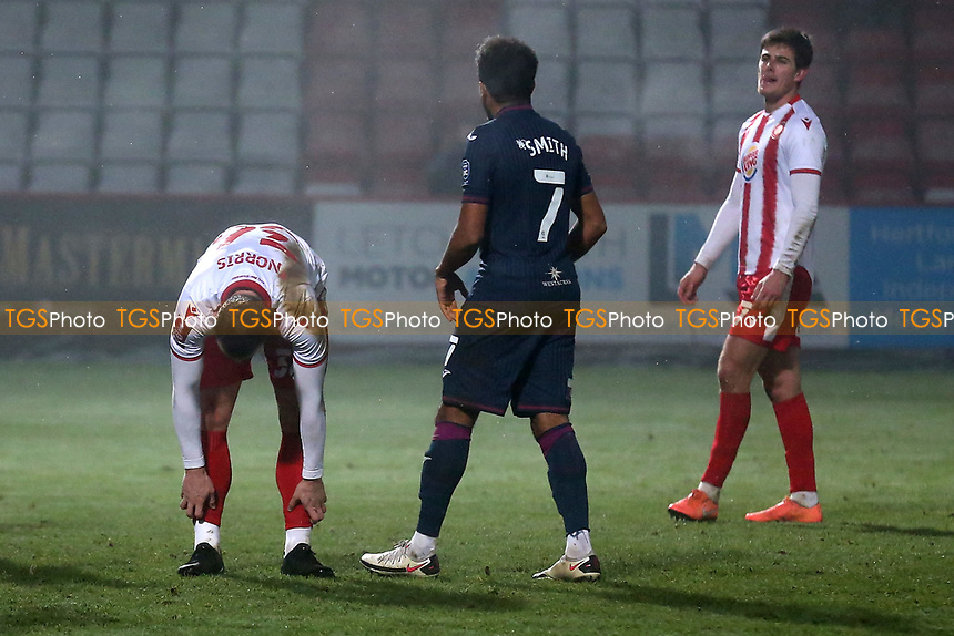Despair for Luke Norris (L) after his penalty for Stevenage is saved during Stevenage vs Swansea City, Emirates FA Cup Football at the Lamex Stadium on 9th January 2021