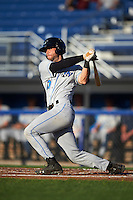 Hudson Valley Renegades catcher Daniel De La Calle (13) at bat during a game against the Batavia Muckdogs on August 1, 2016 at Dwyer Stadium in Batavia, New York.  Hudson Valley defeated Batavia 5-1.  (Mike Janes/Four Seam Images)